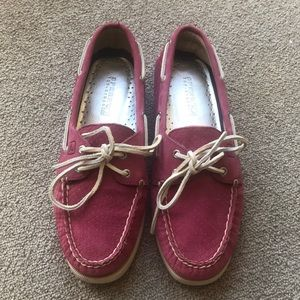 SPERRY PINK SUEDE TOP SIDERS 2 EYE BOAT SHOES 8